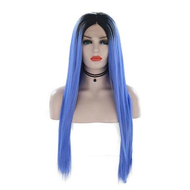 Συνθετικές μπροστινές περούκες δαντέλας Μεταξένια Ίσια Στυλ Μέσο μέρος Δαντέλα Μπροστά Περούκα Μπλε Μαύρο / Μπλε Συνθετικά μαλλιά 24 inch Γυναικεία Ρυθμιζόμενο / Ανθεκτικό στη Ζέστη / Πάρτι / Ombre