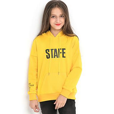 Недорогие Одежда для девочек-Дети Девочки Уличный стиль С принтом Длинный рукав Полиэстер Худи / толстовка Желтый