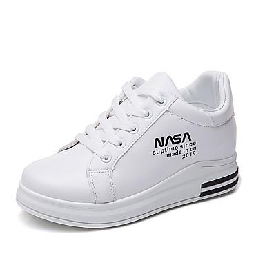 Kadın's Ayakkabı PU İlkbahar yaz Günlük / Tatlı Spor Ayakkabısı Dolgu Topuk Yuvarlak Uçlu Günlük / Dış mekan için Siyah / Kırmzı