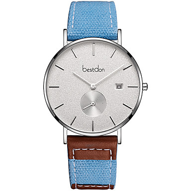 cheap Women's Watches-Best don Couple's Dress Watch Japanese Quartz Genuine Leather Pool 30 m Water Resistant / Waterproof Casual Watch Large Dial Analog Vintage Fashion - White Silver Blue / Stainless Steel