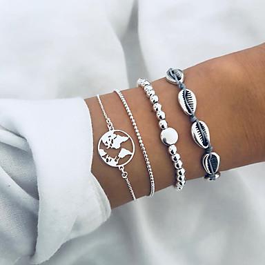 billige Motearmbånd-Dame Perlearmbånd Armbånd med anheng Multi Layer Kart Bokstaver Skall Tropisk trendy Avslappet / Sportslig Bomull Armbånd Smykker Sølv Til Daglig Ferie Arbeid