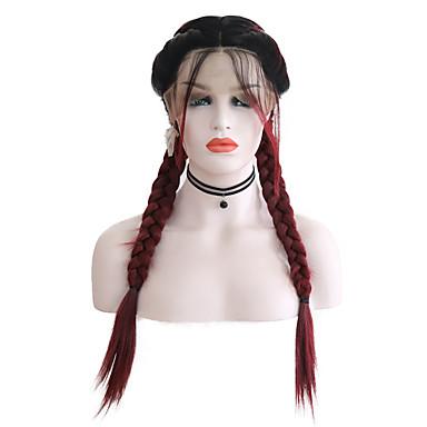 Συνθετικές μπροστινές περούκες δαντέλας Ματ Στυλ Μέσο μέρος Δαντέλα Μπροστά Περούκα Μπορντώ Μαύρο / σκούρο κρασί Συνθετικά μαλλιά 24 inch Γυναικεία Ρυθμιζόμενο / Ανθεκτικό στη Ζέστη / Γυναικεία / Ναι