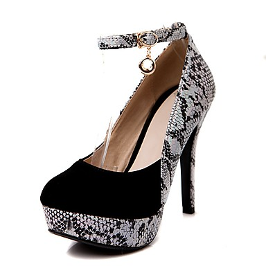 cheap Women's Shoes New Arrivals-Women's PU(Polyurethane) / Snakeskin Spring & Summer Vintage / Casual Heels Stiletto Heel Round Toe Black / Red / Daily