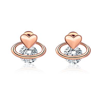 94250540a Women's Clear Cubic Zirconia Classic Stud Earrings Earrings Trendy Korean Cute  Jewelry Silver / Rose Gold For Date Festival 1 Pair