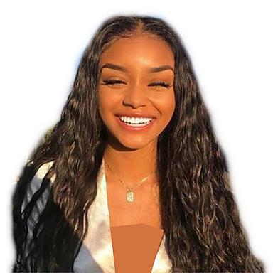 Pruik Lace Front Synthetisch Haar Watergolf / Losse krul Stijl Gelaagd kapsel Kanten Voorkant Pruik Zwart Zwart Synthetisch haar 24 inch(es) Dames Dames Zwart Pruik Lang Sylvia 130% Human Hair Density