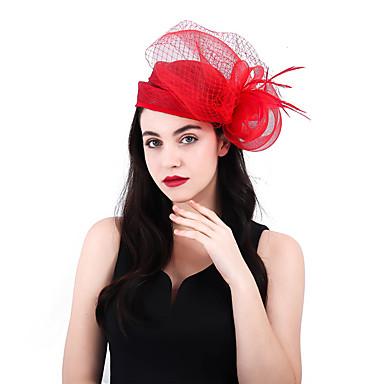 A Rete - Miscela Lino - Cotone Kentucky Derby Hat - Fascinators - Fiori Con Piume 1 Pezzo Matrimonio - Party - Serata Copricapo #07187083