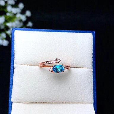 fe32fd620ed7 Mujer Azul Rubí Clásico Anillo de declaración Anillo Anillo abierto S925  Sterling Silver Tema Floral Flor