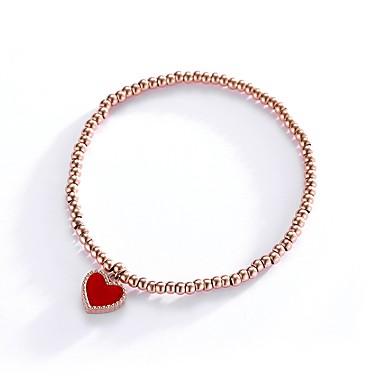 abordables Bracelet-Bracelet Femme Acier au titane Cœur simple Doux Elégant Bracelet Bijoux Rouge pour Cadeau Quotidien