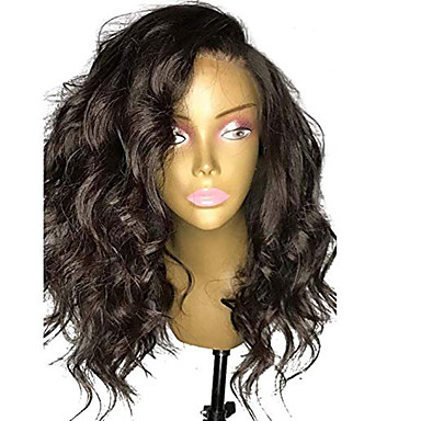 Натуральные волосы Лента спереди Парик Стрижка боб Короткий Боб Свободная часть стиль Бразильские волосы Волнистый Черный Парик 130% Плотность волос / Природные волосы / 100% ручная работа