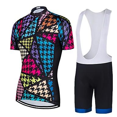 สำหรับผู้หญิง แขนสั้น Cycling Jersey with Bib Shorts - สีน้ำเงินเข้ม สัตว์ จักรยาน ชุดออกกำลังกาย ทน UV 3D Pad แห้งเร็ว กระเป๋าหลัง กีฬา ไลคร่า รูปเรขาคณิต ขี่จักรยานปีนเขา Road Cycling เสื้อผ้าถัก