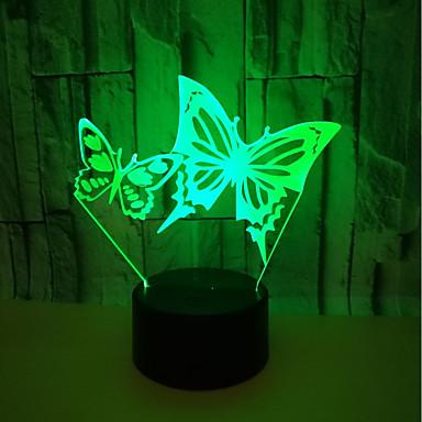usb powered outo yövalo 3d perhonen visuaalinen pöytälamppu energiansäästö silmähoito johti kevyt pöytävalaisin olohuoneeseen<5v