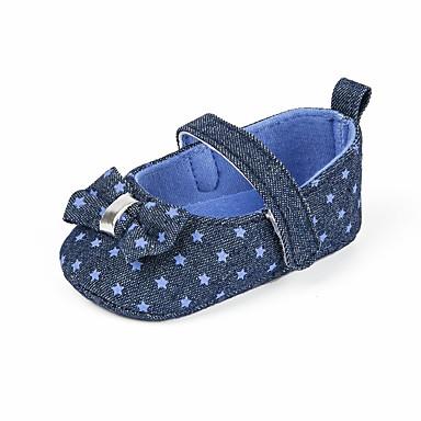 baratos Sapatos de Criança-Para Meninas Jeans Rasos Criança (9m-4ys) Primeiros Passos Laço Azul / Rosa claro Primavera Verão