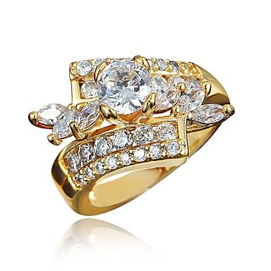 Mulheres Claro Zircônia Cubica Clássico Anel Anel de noivado Banhado a Ouro 18K Imitações de Diamante Estiloso Luxo Romântico Fashion Elegante Anéis Jóias Dourado / Prata Para Festa Noivado Presente