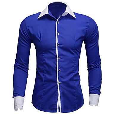 Hombre Retazos - Algodón Camisa, Cuello Inglés Un Color / Bloques Rojo L