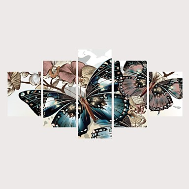 abordables Toiles-Imprimé Impressions sur toile roulées Impression sur Toile - Thème papillon Romance Contemporain Moderne Cinq Panneaux Art Prints