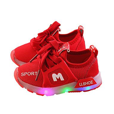 voordelige Babyschoenentjes-Meisjes Oplichtende schoenen Netstof Sneakers Peuter (9m-4ys) / Little Kids (4-7ys) LED Wit / Rood / Roze Lente / Rubber