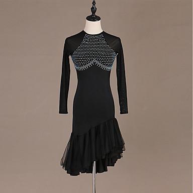 Danse latine Robes Femme Entraînement / Utilisation Spandex / Tulle Cristaux / Stras Manches Longues Taille haute Robe