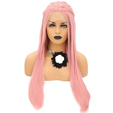 Parrucche Lace Front Sintetiche Liscio Stile Parte di mezzo Lace frontale Parrucca Rosa Rosa Capelli sintetici 24 pollice Per donna Regolabili / Resistente al calore / Feste Rosa Parrucca Lungo / Sì