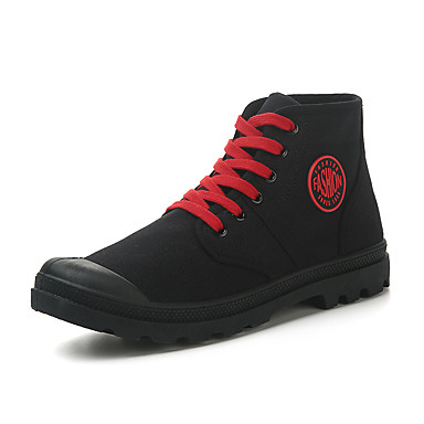 Miesten Cowboy / Western Boots Canvas Kevät kesä Vintage / Vapaa-aika Bootsit Non-liukastumisen Nilkkurit Iskulause Musta / Ruskea / Punainen