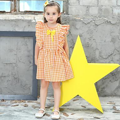 baratos Vestidos para Meninas-Infantil Para Meninas Houndstooth Vestido Laranja
