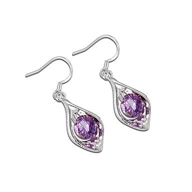 ราคาถูก ตุ้มหู-สำหรับผู้หญิง สีม่วง Cubic Zirconia Drop Earrings Teardrop อินเทรนด์ แฟชั่น สไตล์น่ารัก สง่างาม ชุบเงิน ต่างหู เครื่องประดับ สีเงิน สำหรับ วันเกิด การหมั้น ของขวัญ ทุกวัน เดท 1 คู่
