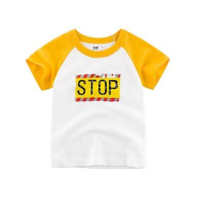 4e8871919a7 abordables Ropa de Niño-Niños Chico Básico Un Color Manga Corta Poliéster  Camiseta Verde Trébol