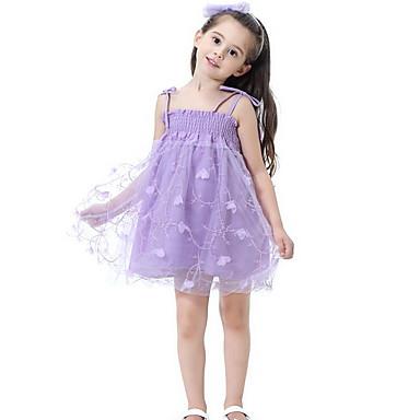 baratos Vestidos para Meninas-Infantil Para Meninas Sólido Bordado Altura dos Joelhos Vestido Rosa