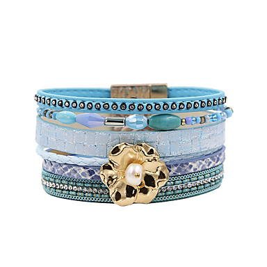 abordables Bracelet-Bracelets en cuir Femme Multirang Pétale Elégant Bohème Bracelet Bijoux Bleu pour Cadeau Quotidien Entraînement Soirée Anniversaire