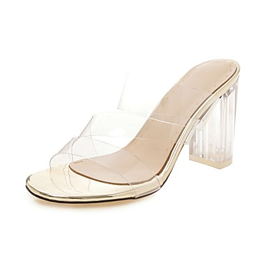 cheap Women's Shoes New Arrivals-Women's PU(Polyurethane) Spring & Summer Classic Sandals Translucent Heel Open Toe White / Black / Silver / Party & Evening