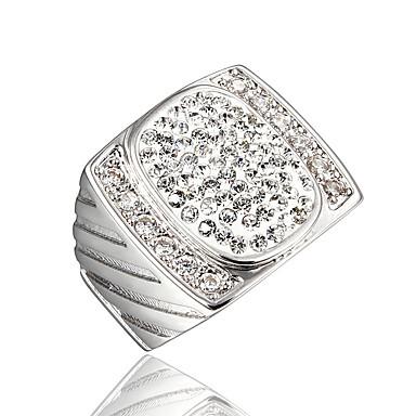 f65fde5d4b9a Mujer Claro Zirconia Cúbica Clásico Anillo Chapado en oro 18K Diamante  Sintético Elegante Lujo Romántico Moda