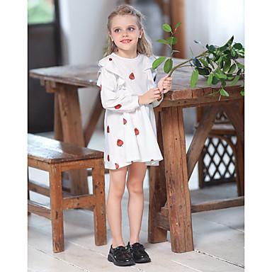 baratos Vestidos para Meninas-Infantil Para Meninas Fruta Acima do Joelho Vestido Branco