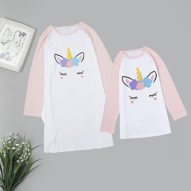 ieftine Set Îmbrăcăminte De Familie-Adulți / Copii Mama și cu mine De Bază / Dulce Zilnic Mată / Animal Manșon Lung Lung Poliester Pijamale Alb