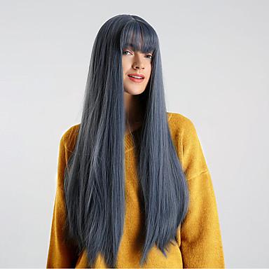 Pelucas sintéticas Heterosexual Estilo Con flequillo Sin Tapa Peluca Azul Azul Real Pelo sintético 26 pulgada Mujer sintético / Cómodo / Entradas Naturales Azul Peluca Longitud Mediana HAIR CUBE