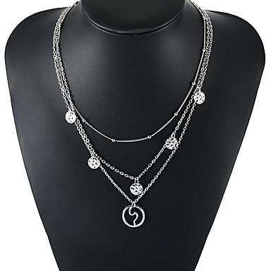 billige Mote Halskjede-Dame lagdelte Hals Bølge Vintage Europeisk Mote Chrome Sølv 44 cm Halskjeder Smykker 1pc Til Daglig Ferie