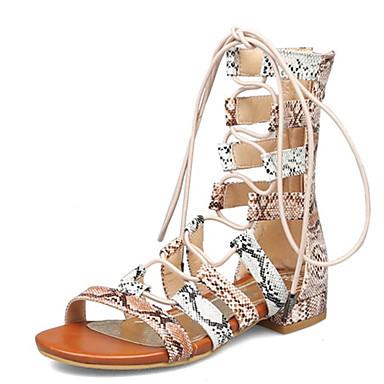 cheap Women's Shoes New Arrivals-Women's PU(Polyurethane) Summer Sandals Low Heel Open Toe Animal Print White / Orange