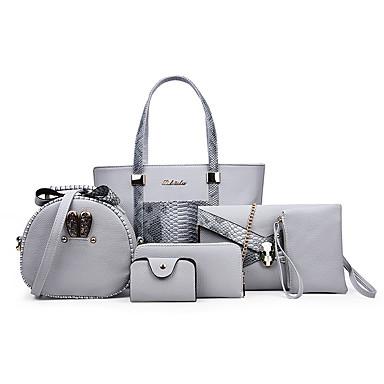 hesapli Çantalar-Kadın's Çantalar PU Çanta Setleri 3 Adet Çanta Seti Fermuar için Günlük / Ofis ve Kariyer İlkbahar yaz / Sonbahar Kış Siyah / Gri / Fuşya / Yılan Derisi