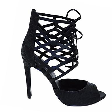 billige Sandaler til damer-Dame Syntetisk læder Sommer Afslappet Sandaler Stilethæle Åben Tå Sort