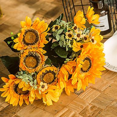 Fleurs artificielles 1 Une succursale Classique Soirée style pastoral Tournesols Fleurs éternelles Fleur de Table