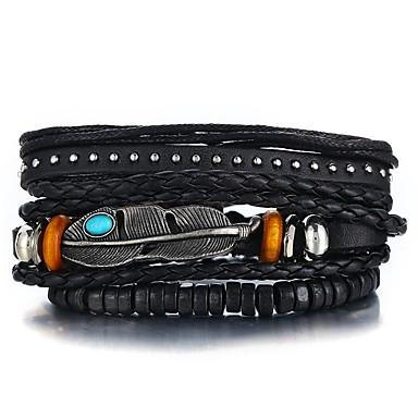 voordelige Herensieraden-3 stuks Heren Lederen armbanden Retro Touw gevlochten Veer Uniek ontwerp Hip-hop PU Armband sieraden Zwart Voor Lahja Dagelijks