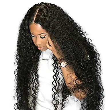 povoljno Perike i ekstenzije-Remy kosa Ljudska kosa 4x13 Zatvaranje Lace Front Perika Duboko udaljavanje stil Peruanska kosa Kovrčav Natural Crna Perika 250% Gustoća kose s dječjom kosom Prirodna linija za kosu Afro-američka