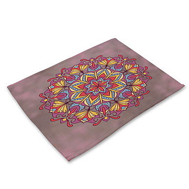 Contemporary Nonwoven Square Placemat Patterned Eco-friendly Table Decorations