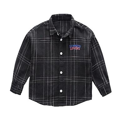 baratos Camisas para Meninos-Infantil Para Meninos Activo Moda de Rua Diário Para Noite Xadrez Estampado Manga Longa Padrão Camisa Preto