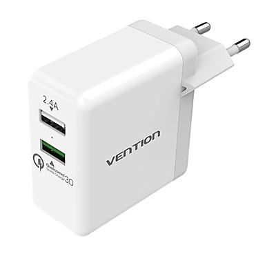 Nopea laturi / Telakkalaturi / Kannettava laturi USB-laturi EU-pistoke Multi-Output / QC 3.0 2 USB-portti 2.4 A / 3 A 110~250 V varten iPhone X / iPhone 8 Plus / iPhone 8