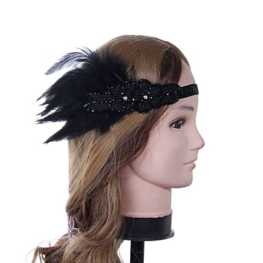 The Great Gatsby Vintage 1920s Costume Women's Flapper Headband Head Jewelry Black Vintage Cosplay Party Prom Sleeveless / Feather