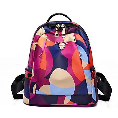 สำหรับผู้หญิง กระเป๋าต่างๆ ไนลอน / สังเคราะห์ กระเป๋าเป้สะพายหลัง แพทเทิร์นหรือลายพิมพ์ / ซิป Scenery สีน้ำเงิน / สีแดงชมพู
