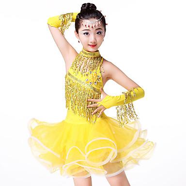 Dança Latina / Roupas de Dança para Crianças Vestidos Para Meninas Espetáculo Poliéster / Elastano / Com Transparência Franzido / Combinação / Lantejoula Sem Manga Alto Vestido