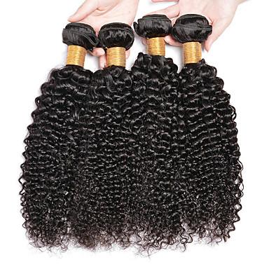 baratos Extensões de Cabelo Natural-6 pacotes Cabelo Brasileiro Kinky Curly Cabelo Virgem Cabelo Humano Ondulado Cabelo Bundle Um Pacote de Solução 8-28inch Côr Natural Tramas de cabelo humano Recém nascido Sem Cheiros Presente