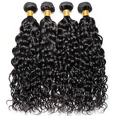 baratos Extensões de Cabelo Natural-4 pacotes Cabelo Indiano Onda de Água 100% Remy Hair Weave Bundles Cabelo Humano Ondulado Cabelo Bundle Um Pacote de Solução 8-28inch Côr Natural Tramas de cabelo humano Fofinho Design Moderno