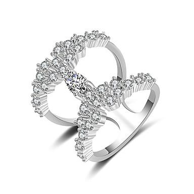 billige Motering-Dame Ring Håndledd Ring Kubisk Zirkonium 1pc Sølv Kobber Stilfull Kunstnerisk Fest Engasjement Smykker X-ring Kul