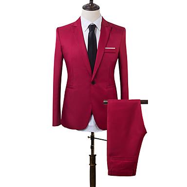 Miesten Suits, Yhtenäinen / Color Block Lovikäänne Akryyli / Polyesteri Vaalean sininen / Khaki / Laivastosininen